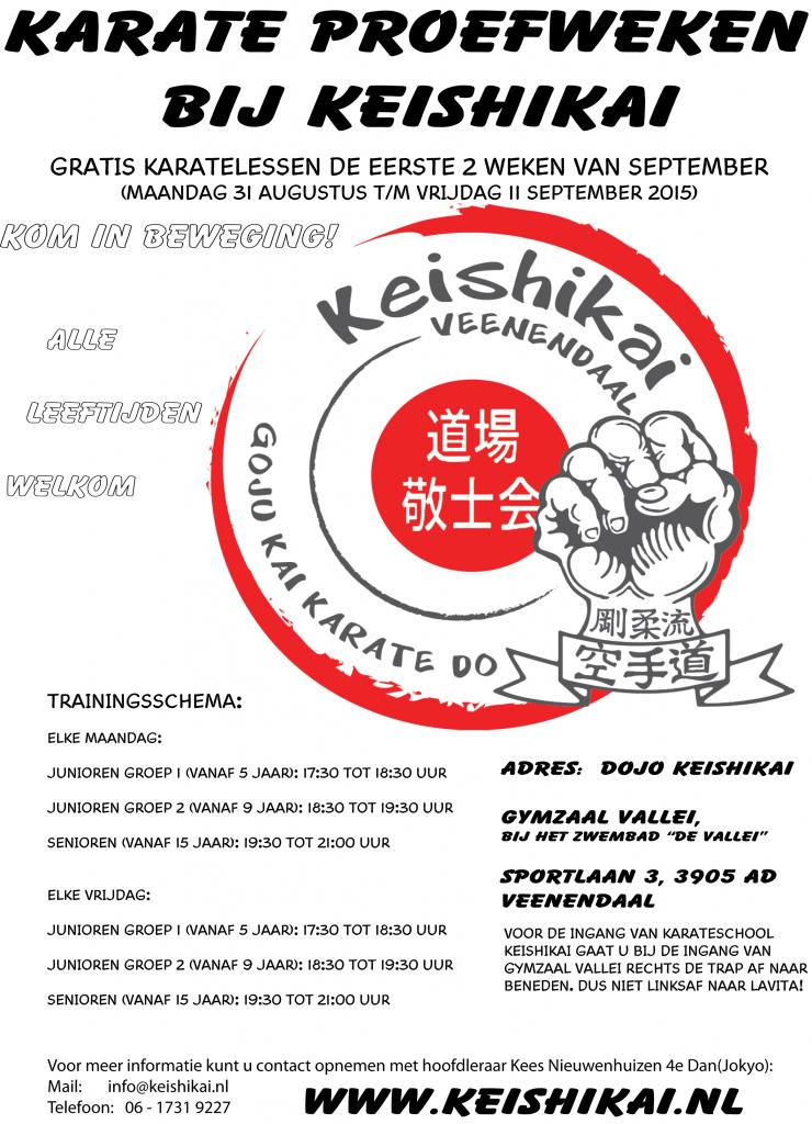 Kom sporten bij Keishikai in de karate proefweken!
